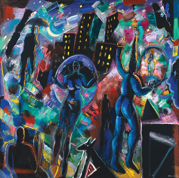 Night Magic (Blue Jester), 1988, by Carlos Almaraz