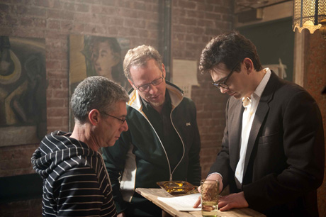 James Franco, Rob Epstein, and Jeffrey Friedman on the set of Howl