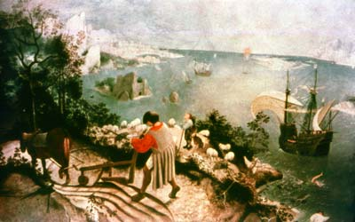 landscape with the fall of icarus essay Allusions to bruegel's landscape with the fall of icarus, the census at  jerusalem, and the massacre of the innocents can be recognised moreover,  philippe de.